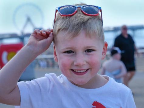 Noah Riley, 5, having fun in the sun