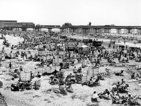 Blackpool's Central Beach with deckchairs and wind breakers pictured in the late 1970s