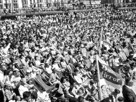 Here's a sight tourism bosses would like to see again - hundreds of thousands of visitors taking in the sun on the sands. Was there a deckchair left for hire?