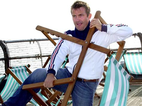 Bradley Walsh wrestles with a deckchair before the opening night of his show on Blackpool's North Pier, 2005