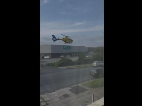Video shows the air ambulance touching down in the car park of Pets at Home in Holyoake Avenue, off Plymouth Road, Blackpool at around 9am this morning (Wednesday, June 30)