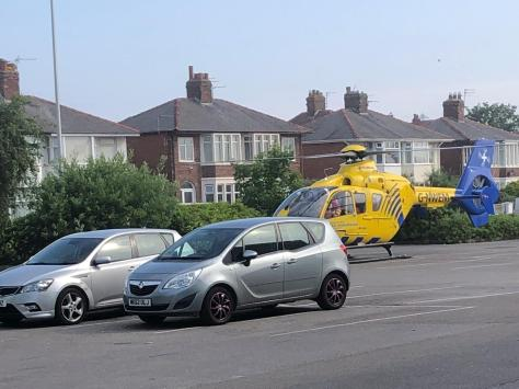 The air ambulance landed in the Pets at Home car park in Holyoake Avenue, off Plymouth Road, where medics were met by a police car that took them to the scene at Layton railway station