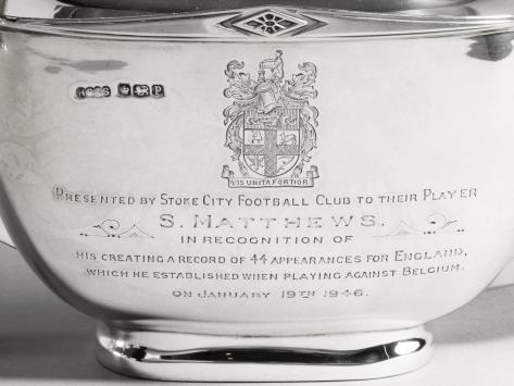 It was presented to Matthews in 1946 after achieving a record 44 appearances for England