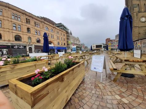 The outdoor dining area being created in St John's Square