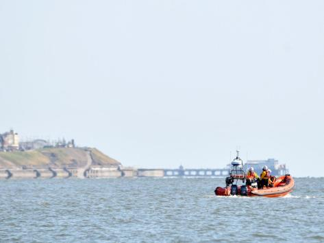 A lifeboat from the RNLI searching the sea off the coast of Rossall on Saturday afternoon, after a 29-year-old holidaymaker from Bolton vanished while playing in the water with friends (Picture: Dave Nelson)