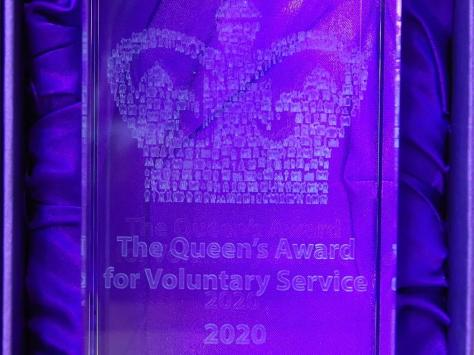 A close-up of the Queen's Award presented to the Blackpool Heritage Tram Volunteers