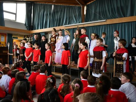 A Latin assembly at St. John's Catholic Primary School in Poulton, part of the Fylde Coast Classics network. Pic: Blackpool Sixth