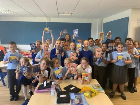 Year Five at Layton Primary School with their gifted books. Pic: Blackpool Council