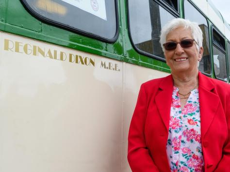 The tram was unveiled by Reg's daughter Jill Steel