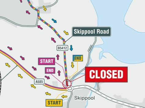 Highways England has published these  maps showing the diversions due to the road closure at Skippool