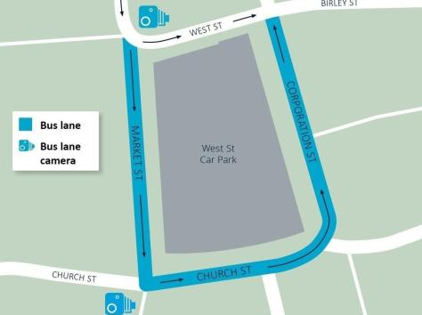 The proposed area of enforcement of the new bus lane cameras in Blackpool town centre
