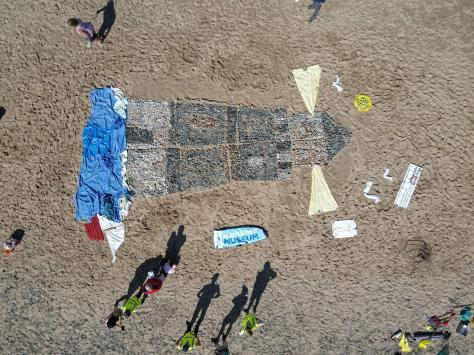 An overhead picture of the Fleetwood beach art, taken by Scott Rimmer using his drone