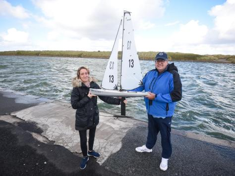 Alan Smith with his model yacht Bullet, which he named after his friend Tony Greenway. He is pictured with Tony's widow Janet Greenway.
