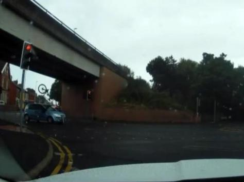 The shocking moment was caught on dashcam. Video footage from Angela Johnstone