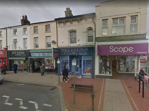 Two staff members were threatened by a man who stormed into Sovereign Gaming in Lord Street, Fleetwood demanding cash shortly after 8pm on Friday (October 8). Pic: Google