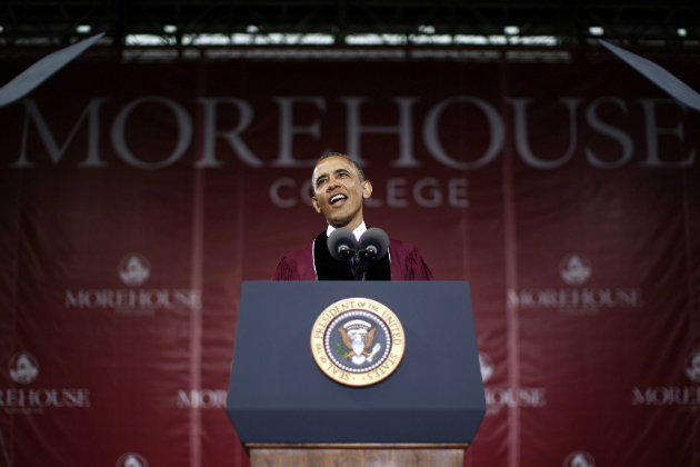 President Barack Obama giving the commencement speech at Morehouse College on May 19, 2013