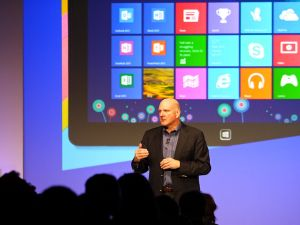 Microsoft CEO Steve Ballmer talks about new feature in Windows 8 in October 2012.