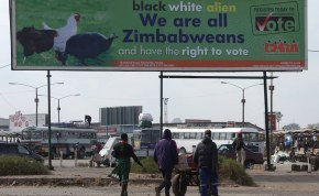 An election billboard in Harare calling for people to register.
