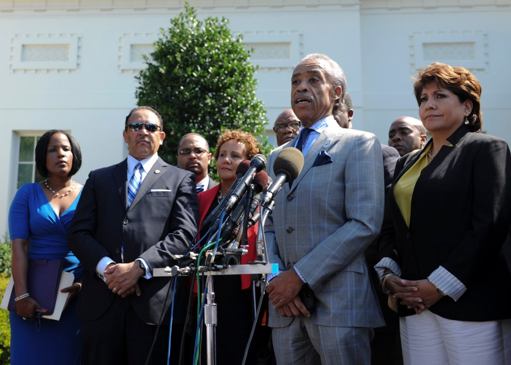 Voting rights advocates speak with press after meeting with President Obama on Monday (NNPA Photo by Freddie Allen).
