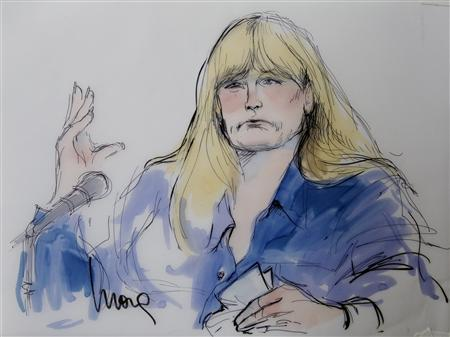 A courtroom sketch depicting the testimony of Debbie Rowe, ex-wife of singer Michael Jackson, is pictured during Katherine Jackson's negligence suit against AEG Live, at Los Angeles Superior Court in Los Angeles