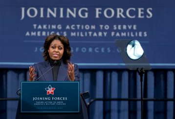 First lady Michelle Obama speaks at a National Symposium on Veterans' Employment in Construction, hosted by the Labor Department, Monday, Feb. 10, 2014, in Washington. (AP Photo/Manuel Balce Ceneta)