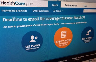This March 25, 2014, photo shows part of the website for HealthCare.gov as photographed in Washington. (AP Photo/Jon Elswick)