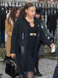 Daughter of the late Nelson Mandela,  Zenani Mandela-Dlamini arrives for the Nelson Mandela memorial service at Westminster Abbey in London Monday, March, 3, 2014. Mandela the former president of South Africa died in December 2013.(AP Photo/Alastair Grant)