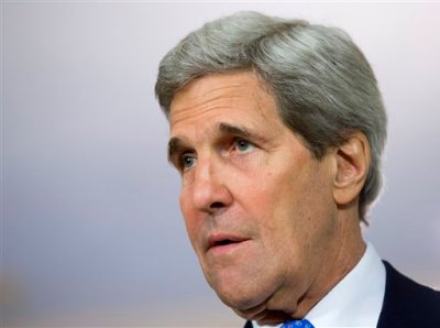 Secretary of State John Kerry speaks to members of the media at the State Department in Washington, Tuesday, April 29, 2014, during his meeting with Egyptian Foreign Minister Nabil Fahmy.  (AP Photo)