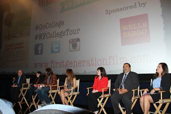 From left to right: Larry Gordon, LA Times education reporter, Jaye Fenderson, First Generation co-director, Adam Fenderson, First Generation co-director, Cecilia Lopez, First Generation cast member, Casey Galindo, Wells Fargo Education Financial Services assistant vice president, Gerardo Loera, Los Angeles Unified School District Office of Curriculum, Instruction and School Support executive director, Michele Siqueiros, The Campaign for College Opportunity executive director engaged attendees with a panel discussion at the red carpet community screening of First Generation at the launch of Wells Fargo and First Generation Films Go College! initiative in Los Angeles