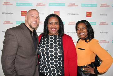 "From left to right Manifest Your Destiny Foundation executive director, Akello Stone, Wells Fargo senior vice president, Georgette ""Gigi"" Dixon and Manifest Your Destiny Foundation assistant director, Ericka McCall attended the kick-off event for Wells Fargo and First Generation Films Go College! initiative in Los Angeles"