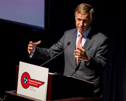 In this March 25, 2014, file photo, Tennessee Gov. Bill Haslam speaks at a luncheon in Nashville, Tenn. The Republican governor on Thursday, May 22, 2014, signed a bill into law to allow the state to electrocute inmates on death row in the event that drugs used for lethal injections become unavailable. (AP Photo/Erik Schelzig, file)
