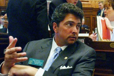 Michael Boggs gestures on the House floor at the Georgia State Capitol in Atlanta on April 7, 2004. (Gregory Smith/AP)