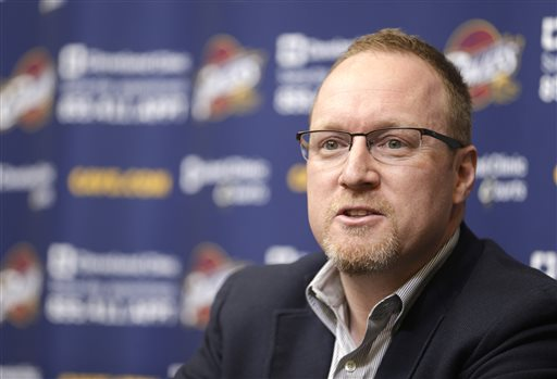 In this April 22, 2014 photo, Cleveland Cavaliers interim general manager David Griffin wrap-up the season at the NBA basketball team's headquarters in Independence, Ohio. On Monday, May 12, 2014, the Cavaliers announced Griffin has been named general manager of the and Mike Brown has been released as head coach. (AP Photo)