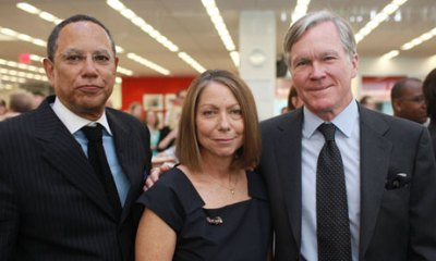 Jill Abramson, centre, the new executive editor of the New York Times, with managing editor Dean Baquet, left, and Bill Keller, who is stepping aside as executive editor. (Fred R Conrad/AP)
