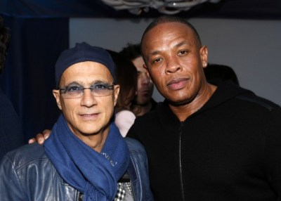 This Feb. 10, 2013 file photo shows music industry entrepreneur Jimmy Iovine, left, and hip-hop mogul Dr. Dre at a Grammy party in Los Angeles. (AP Photo)