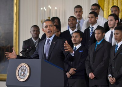 "President Obama announcing his ""My Brother's Keeper"" initiative (NNPA Photo by Freddie Allen)"
