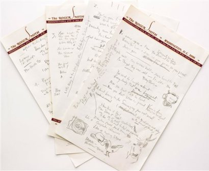 """This undated file photo provided by Sotheby's shows a working draft of Bob Dylan's """"Like a Rolling Stone,"""" one of the most popular songs of all time. The draft, in Dylan's own hand, is coming to auction in New York on Tuesday, June 24, 2014, where it could fetch an estimated $1 million to $2 million. Sotheby's says it is """"the only known surviving draft of the final lyrics for this transformative rock anthem."""" (AP Photo/Sotheby's, File)"""