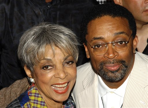 "In this June 29, 2009 file photo, actress Ruby Dee, left, and director Spike Lee attend a special 20th anniversary screening of ""Do the Right Thing,"" in New York. Dee, an acclaimed actor and civil rights activist whose versatile career spanned stage, radio television and film, has died at age 91, according to her daughter. Nora Davis Day told The Associated Press on Thursday, June 12, 2014, that her mother died at home at New Rochelle, New York, on Wednesday night.  (AP Photo/Peter Kramer, file)"