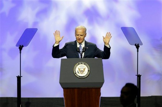 Vice President Joe Biden speaks on voting rights at the NAACP annual convention Wednesday, July 23, 2014, in Las Vegas. (AP Photo/John Locher)
