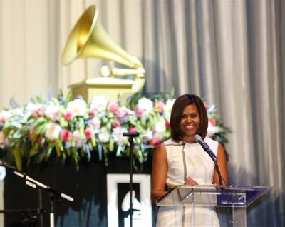 First Lady Michelle Obama delivers remarks at the Grammy Museum's Jane Ortner Education Award Luncheon in Los Angeles Wednesday, July, 16, 2014. Obama says every arts organization in the country should embrace the mission of the Grammy Museum in Los Angeles, which focuses on education.  (AP Photo/Damian Dovarganes)