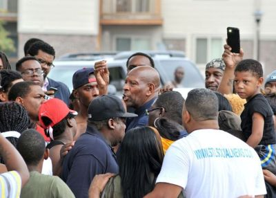"Brother Anthony Shahid in the thick of the protests at ""ground zero"" earlier this week. (Wiley Price/St. Louis American)"