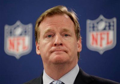 "In this May 22, 2012, file photo, NFL Commissioner Roger Goodell pauses during a new conference in Atlanta. A law enforcement official says he sent a video of Ray Rice punching his then-fiancee to an NFL employee three months ago, while league executives have insisted they didn't see the violent images until they were published this week. The person played The Associated Press a 12-second voicemail from an NFL office number confirming the video arrived on April 9. A female voice expresses thanks for providing the video and says: ""You're right. It's terrible."" Goodell sent a memo on Wednesday, Sept. 10, 2014, to the 32 teams reiterating that the NFL never saw the video until Monday, Sept. 8. (AP Photo/David Goldman, File)"
