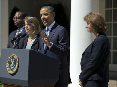 President Obama with some of his nominees to the U.S. Court of Appeals for the D.C. Circuit in June. (Evan Vucci, AP)