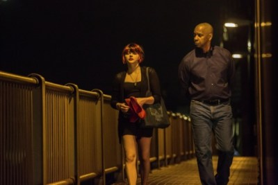 "Grace Moretz and Denzel Washington in ""The Equalizer"""