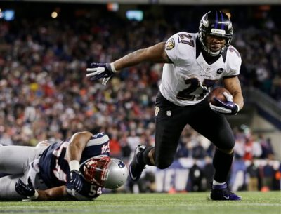 In this Jan. 20, 2013, file photo, Baltimore Ravens running back Ray Rice (27) goes in for a two-yard touchdown run against New England Patriots outside linebacker Dont'a Hightower (54) during the first half of the NFL football AFC Championship football game in Foxborough, Mass. The Ravens have cut Ray Rice. Hours after the release of a video that appears to show Rice striking his then-fiancee in February, the team terminated his contract Monday, Sept. 8, 2014. (AP Photo/Matt Slocum, File)