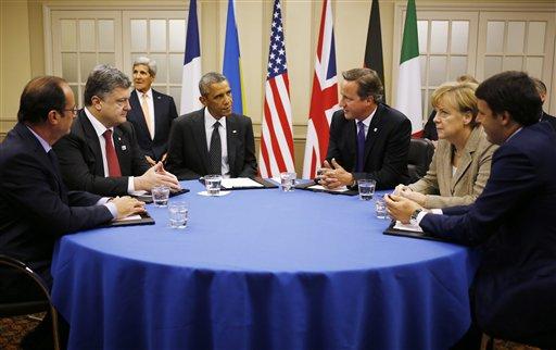 Barack Obama, Matteo Renzi, Angela Merkel, David Cameron, Petro Poroshenko, Francois Hollande