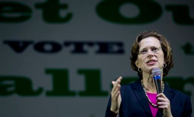 Democratic U.S. Senate candidate Michelle Nunn speaks at a rally encouraging early voting, Monday, Oct. 27, 2014, in Decatur, Ga. (AP Photo/David Goldman)