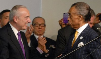 Commissioner Bill Bratton, Sanford Rubenstein and Rev. Al Sharpton (Bill Moore/New York Amsterdam News)