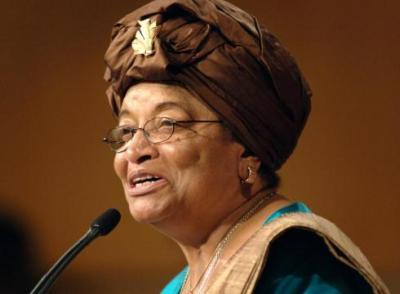 In this Sept. 18, 2006, file photo, Liberian President Ellen Johnson Sirleaf addresses the audience at the Kennedy School of Government at Harvard University in Cambridge, Mass. (Josh Reynolds/AP Photo)