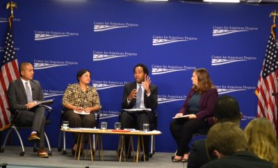 The Center for American Progress hosted a panel as part of the report release. Left to right: Giles Li, Yvette Sanchez Fuentes, David J. Johns, and Katie Hamm, director of early childhood policy for the Center for American Progress. (Jazelle Hunt/NNPA)